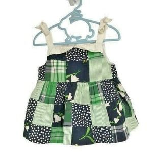Janie and Jack 2T Green Blue Floral Baby Dress